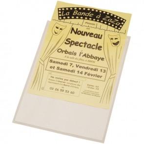 Blister de 10 pochettes adhésives transparentes format 158x220 mm (148x210 mm à classer) en polypropylène