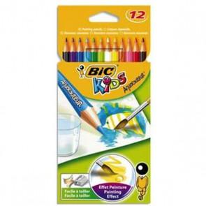 12 Crayons de couleur pour aquarelles AQUACOULEUR. Corps 17,5cm.
