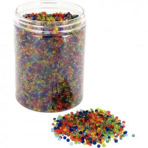 Bocal de 500 grammes de perles rocailles transparentes diamètre 2,5 mm assortis