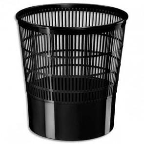 Corbeille à papier ajourée 1 er prix 16 litres noir, avec rebord