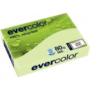 Ramette de 500 feuilles de papier recyclé 80g de format A4 vert clair EVERCOLOR