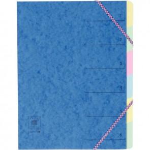 Trieur en carte lustrée 5/10ème fermeture par élastiques 6 compartiments