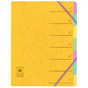 Trieur en carte lustrée 5/10ème fermeture par élastiques 7 compartiments