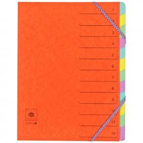 Trieur en carte lustrée 5/10ème fermeture par élastiques 12 compartiments