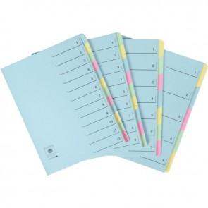 Trieur en carte dossier rigide 12 compartiments  bleu