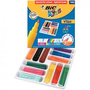 Boîte Classpack de 144 Visa couleurs assorties pointe fine