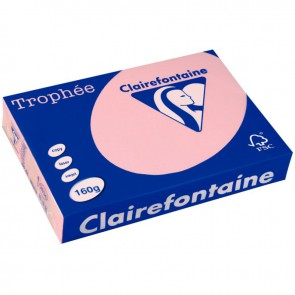 Paquet de 250 feuilles de papier 160g de format A3 rose TROPHEE CLAIREFONTAINE