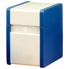 Boîte à fiche Plastique / métal 210x148 bleue et   blanche