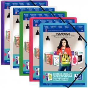 Chemise personnalisable 3 rabats à élastiques format 24x32 cm assortis