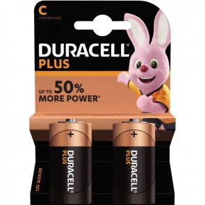 Blister de 2 piles 1.5 volts alcaline PLUS à la marque Duracell LR14 E93 C