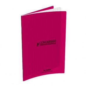 Cahier piqûre 17x22 96 pages grands carreaux Séyes 90g. Couverture polypro. rose Conquérant
