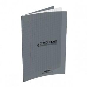 Cahier piqûre 17x22 96 pages grands carreaux Séyes 90g. Couverture polypro gris Conquérant