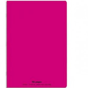 Cahier piqûre 21x29,7cm 96 pages grands carreaux 90g. Couverture polypro. rose Ref. Hamelin : 533143