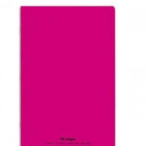 Cahier piqûre 24x32 en 96 pages grands carreaux Séyes en 90g. Couverture polypro rose