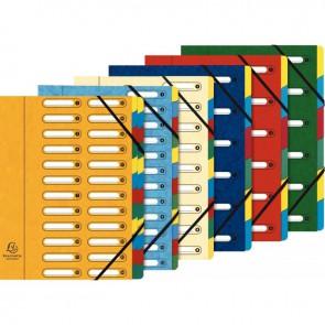 Trieur en carte lustrée à fenêtre découpées à 6 compartiments, fermeture par élastiques, 4  assortis ( bleu - rouge - vert - jaune )