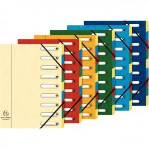Trieur en carte lustrée à fenêtre découpées à 9 compartiments, fermeture par élastiques, 4  assortis ( bleu - rouge - vert - jaune )