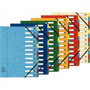 Trieur en carte lustrée à fenêtre découpées à 12 compartiments, fermeture par élastiques, 4  assortis ( bleu - rouge - vert - jaune )