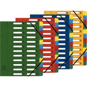 Trieur en carte lustrée à fenêtre découpées à 24 compartiments, fermeture par élastiques, 4  assortis ( bleu - rouge - vert - jaune )
