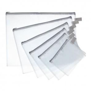 Pochette zippée 19x25 cm en PVC renforcé semi-transparente
