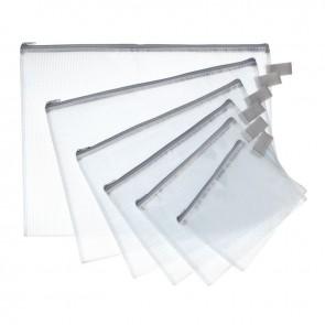 Pochette Zippée 13x17 cm, en PVC renforcé, semi-transparente