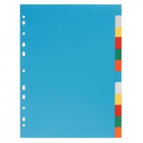 Jeu de 12 intercalaires en polypropylène 12/100ème format A4 couleurs assorties