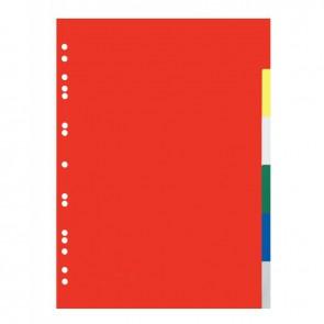 Jeu de 6 intercalaires en polypropylène 12/100ème format A4 couleurs assorties