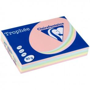 Ramette de 500 feuilles de papier 80g de format A4 assortis pastel TROPHEE CLAIREFONTAINE