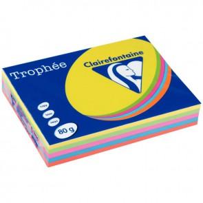 Ramette de 500 feuilles de papier 80g de format A4 assortis intense TROPHEE CLAIREFONTAINE