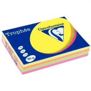 Ramette de 500 feuilles de papier 80g de format A4 assortis fluo TROPHEE CLAIREFONTAINE