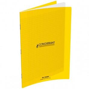 Cahier piqûre 17x22 96 pages grands carreaux 90g. Couverture polypro jaune