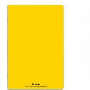 Cahier piqûre 21x29,7cm 96 pages grands carreaux 90g. Couverture polypro jaune Ref. Hamelin 599301