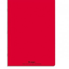 Cahier piqûre 21x29,7cm 96 pages grands carreaux 90g. Couverture polypro  rouge Ref  Hamelin 599328