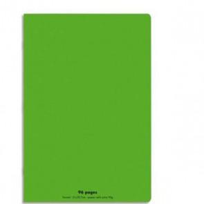 Cahier piqûre 21x29,7cm 96 pages grands carreaux 90g. Couverture polypro  verte Ref. Hamelin 599336