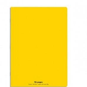 Cahier piqûre 24x32 96 pages grands carreaux 90g. Couverture polypro jaune Ref  Hamelin 599352