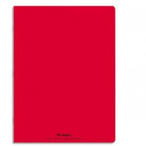 Cahier piqûre 24x32 96 pages grands carreaux 90g. Couverture polypro rouge Ref.  Hamelin 599360