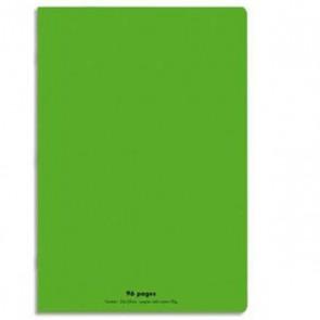 Cahier piqûre 24x32 96 pages grands carreaux 90g. Couverture polypro vert  Réf. 599379