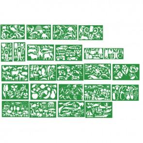 Lot de 24 pochoirs en plastique souple modèles assortis