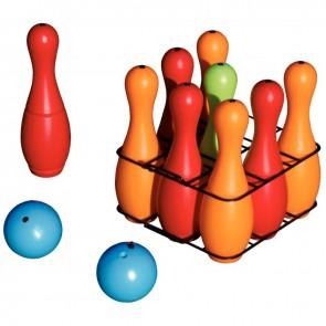 Jeu de bowling 9 quilles en plastique + 2 boules - 4 couleurs assorties Hauteur 27 cm