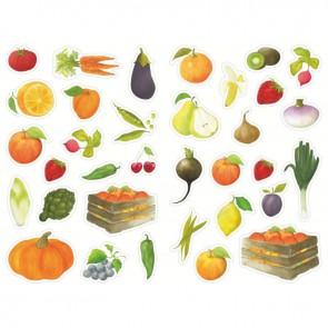 Pochette de 408 gommettes fruits et légumes, adhésives repositionnables
