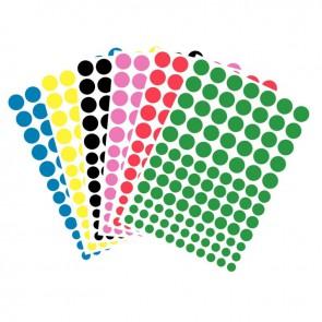 Pochette de 624 gommettes adhésives rondes couleurs assorties