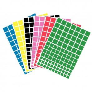 Pochette de 624 gommettes adhésives carrées couleurs assorties