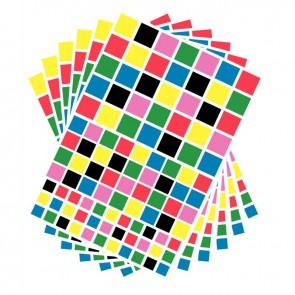 Pochette de 2080 gommettes adhésives carrées 6 couleurs assorties