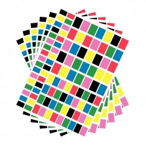 Pochette de 2100 gommettes adhésives rectangulaires 6 couleurs assorties
