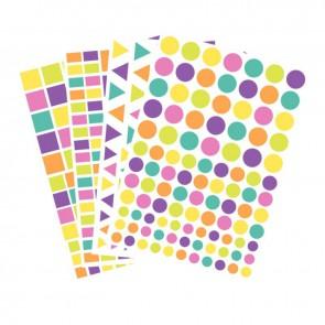 Maxi pochette de 4170 gommettes géométriques adhésives couleurs pastels assortis