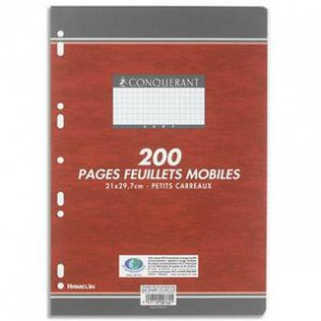 Feuillets mobiles 21x29,7cm 200 pages 90g Seyès. Sous sachet, papier blanc