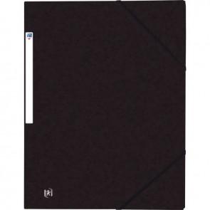 Chemise 3 rabats à élastiques TOP FILE+ en carte lustrée 4/10e 390g, noir