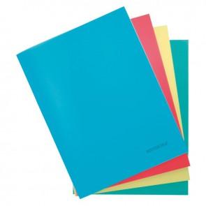 Piqure 96 pages couverture polypropylène 24x32cm uni 90g  couverture assortis : rouge, bleu, vert, jaune