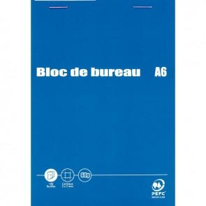 Bloc de bureau 100 feuilles 60g format A6 quadrillé 5x5