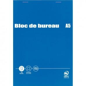 Bloc de bureau 100 feuilles 60g format A5 quadrillé 5x5