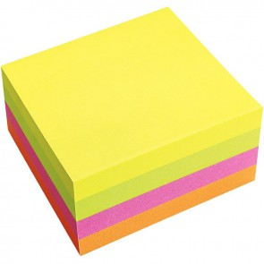 Bloc cube de 320 feuilles de notes repositionnables 75 x 75 mm vif assortis